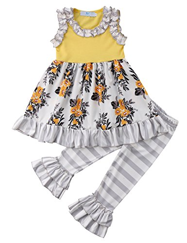Set Capri Outfit - Kids Little Girls Purple Floral Ruffle Sleeveless Dress Top and Striped Flare Capri Pants Outfit Set (5-6Y, Yellow)
