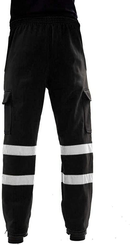 KaloryWee Herren Reflexstreifen Stra/ßenarbeiten Overalls Trainingshose Oberschenkeltasche Sport Lose Hosen /Überqueren G/ünstig Mens Pants