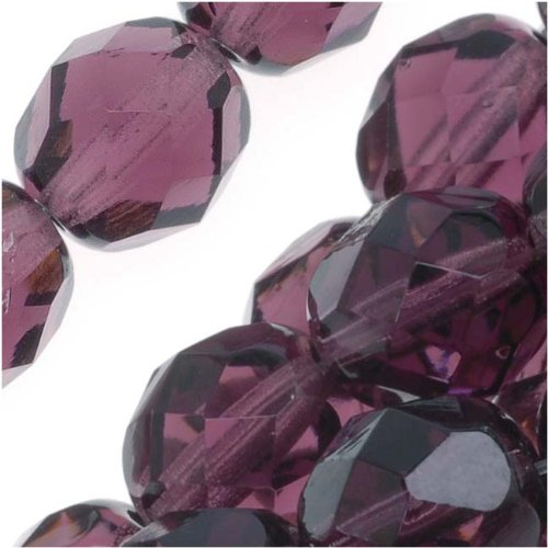 Jablonex Czech Fire Polished Glass Beads 8mm Round Purple Amethyst (25