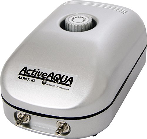 - Hydrofarm Active Aqua Air Pump, 2 Outlets, 3W, 7.8 L/min