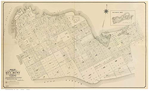 Key West - Monroe County Florida 1908 - Wall Map with lot Lines some Homeowner &business names - Genealogy Old Map Reprint