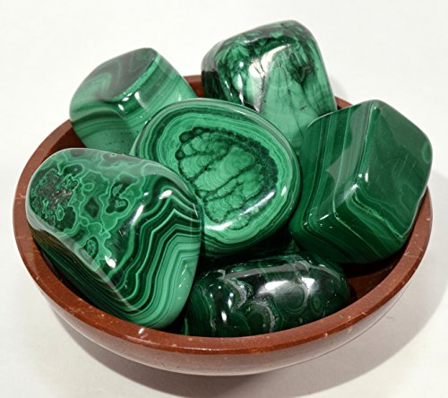 Green Malachite Pebbles Polished Natural Gemstone Crystal Mineral Cabochons Tumbled Stone Specimens for Carving Cabbing - Congo (5PCS) by HQRP-Crystal