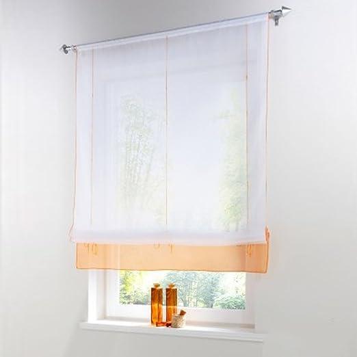 Pueri Rideaux Voilages Semi Transparents Courts Pour Fenetre Salon Cuisine Design Simple Et Moderne Pas Cher Orange 120 155cm