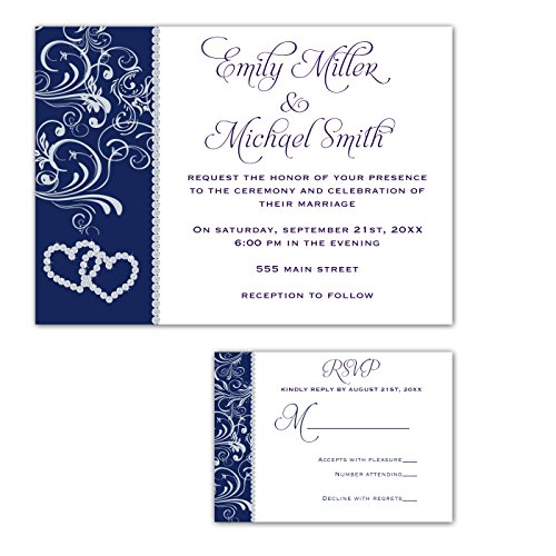100 Wedding Invitations Rhinestone Diamond Navy Blue Design + Envelopes + Response Cards Set by Pink The Cat