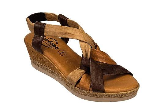38 Jordana Femme 0251644 Sandale Cuir Talon Marron Compense eIbWD2YEH9