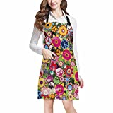 InterestPrint Colorful Hippies Flowers with Peace Sign and Yinyang Unisex Adjustable Bib Apron with Pockets for Women Men Girls Chef for Cooking Baking Gardening Crafting, Large Size