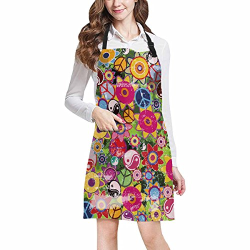 InterestPrint Colorful Hippies Flowers with Peace Sign and Yinyang Unisex Adjustable Bib Apron with Pockets for Women Men Girls Chef for Cooking Baking Gardening Crafting, Large Size by InterestPrint