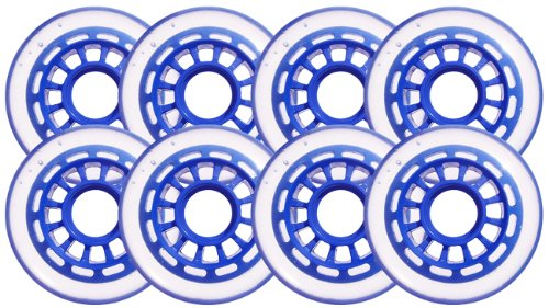 Clear / Blue Inline Skate Wheels 76mm 78a 8-Pack by Blank
