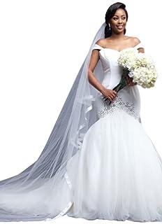 06205fddb1f93 Yangprom Off-The-Shoulder Beaded Satin Tulle Mermaid Wedding Dress with  Train