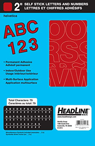 Headline Sign 31213 Stick-On Vinyl Letters and Numbers, Red, 2-Inch (Red Numbers Vinyl)