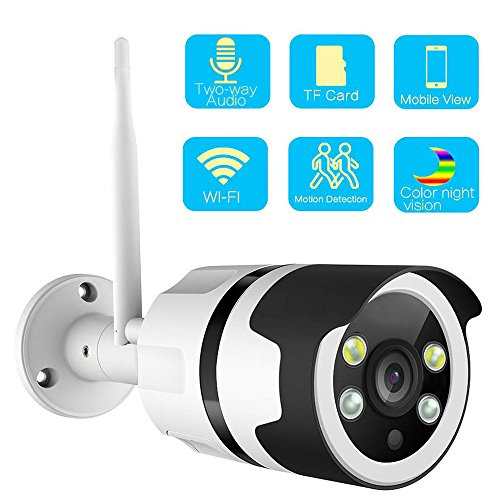 Color Night Vision IP Camera, WIFI Wireless Security Camera Surveillance Bullet Outdoor WiFi Camera Waterproof IP67,Two-Way Audio,HD 1080P,Motion Detect,Email Alert,Micro SD,Card/Cloud Storage