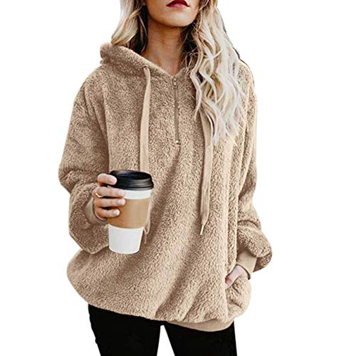Family Zip Hoodie - MUMUBREAL Women's Oversized Sherpa Long Sleeve Pullover Zip Sweatshirt Fleece Hoodies Pockets (Khaki XL)