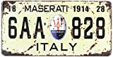 Maserati 1914 6AA 828 Italy Vintage Auto License Plate, Embossed Tag Size 6