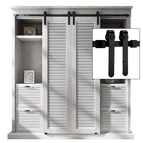 EaseLife 8 FT Double Door Mini Cabinet Sliding Barn Door Hardware Kit - Heavy Duty | Sturdy | Slide Smooth Quiet | Apply for Wardrobe Window TV Stand Closet | 8FT Track Double Door Kit