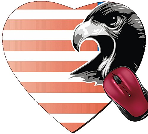 Liili Mousepad Heart Shaped Mouse Pads/Mat head eagle on the USA flag background Photo (Heart Eagle Head)