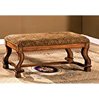 Furniture of America Alain Traditional-Style Upholstered Bench