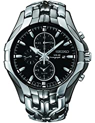 Seiko Mens SSC139 Excelsior Gunmetal and Silver-Tone Stainless Steel Solar Watch