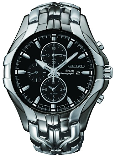 Alarm Watch Titanium 100m Chronograph - Seiko Men's SSC139 Excelsior Gunmetal and Silver-Tone Stainless Steel Solar Watch
