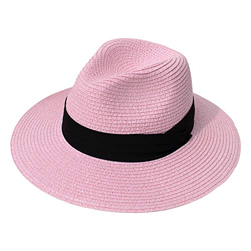 DRESHOW Women Straw Panama Hat Fedora Beach Sun Hat Wide Brim Straw Roll up Hat UPF 50+ (Fedora Pink)