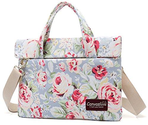 Canvaslove Blue Rose Pattern 13 inch Slim Lightweight Waterproof Laptop Shoulder Messenger Bag Case...