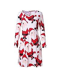 FarJing Christmas Dress Clearance, Women Santa Print Top Loose Blouse Dress