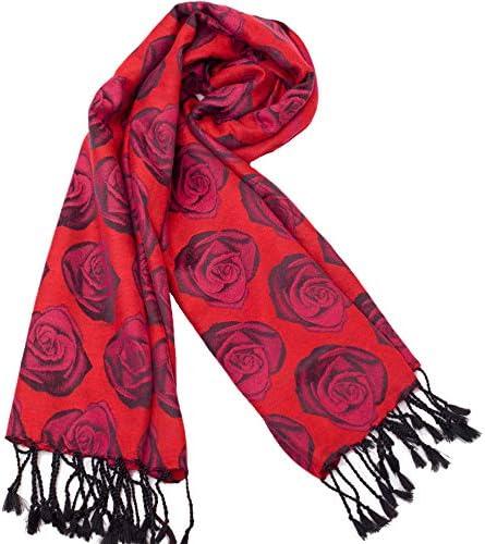 WLM Kaschmir Schal, Herbst und Winter weiblichen roten Schal Schal, Lätzchen Dual-Use, Dicke Lange doppelseitige Langen Bart Quaste Schal,rot,175 cm