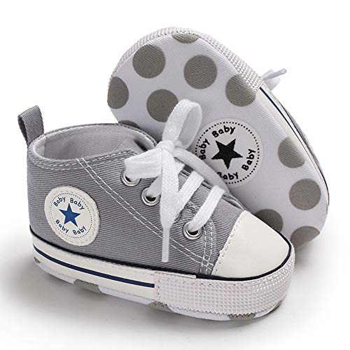 Tutoo Unisex Baby Boys Girls Star High Top Sneaker Soft Anti-Slip Sole Newborn Infant First Walkers Canvas Denim Shoes (12-18 Months M US Infant, A07-grey)