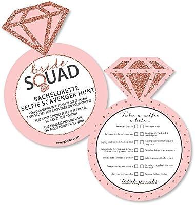 bride squad selfie scavenger hunt rose gold bridal shower or bachelorette party game set of 12