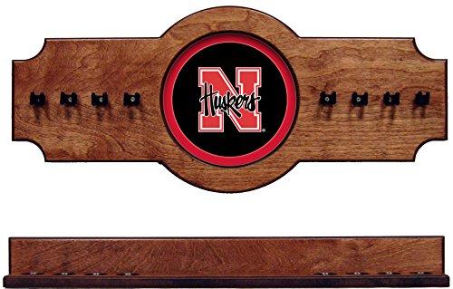NCAA Nebraska Cornhuskers NEBCRR100-P 2 pc Hanging Wall Pool Cue Stick Holder Rack - Pecan
