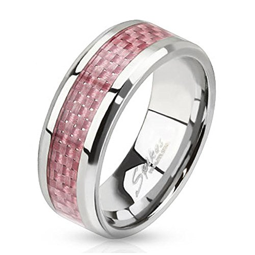 Jinique STR-0070 Stainless Steel Pink Carbon Fiber Inlay Band Ring