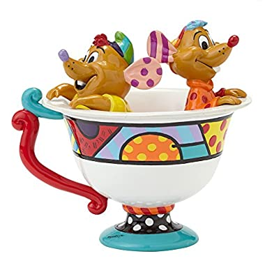 Enesco Disney by Britto Jaq & Gus in Tea Cup Figurine, 5-Inch