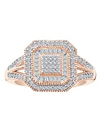 Round & Baguette Shape White Natural Diamond Vintage Frame Ring In 14k Gold Over Sterling Silver (0.33 cttw)