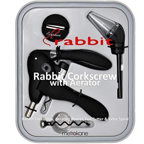 Metrokane Rabbit Corkscrew with Houdini Aerating Pourer and Bonus Replacement Worm- Black