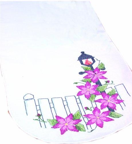 Fairway Needlecraft 18235 Dresser Scarf, Cross Stitch Climatis Design, White, Perle Edge