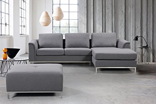 Velago OLLON Dark Grey Modern Right-Facing Sectional Sofa | Fabric Upholstered L-Shape Couch with Chaise Lounge | Contemporary Living Room Furniture, 126