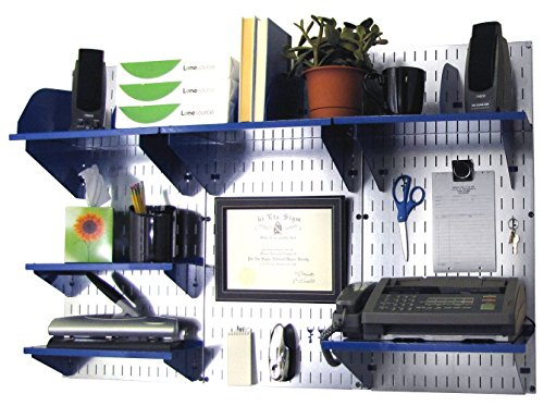 Wall Control Office Organizer Unit Wall Mounted Office Desk Storage and Organization Kit Metallic Wall Panels and Blue Accessories