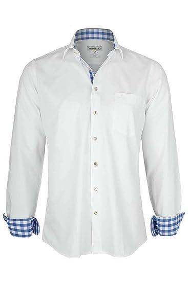 Almsach Herren Hemd Slim Fit weiß mit Karierten Details blau, weiß-Jeans, S a3659676b4