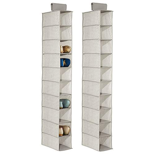 mDesign Soft Fabric Closet Organizer - Holds Shoes, Handbags, Clutches, Accessories - 10 Shelf Over Rod Hanging Storage Unit - Chevron Zig-Zag Print, 2 Pack - Taupe/Natural