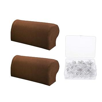 Fenteer - 1 par de Fundas elásticas para reposabrazos de sofá y 100 Piezas de alfileres para reposabrazos de Muebles: Amazon.es: Hogar
