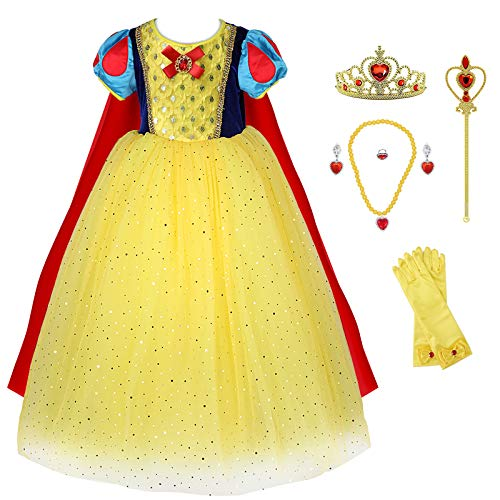 Princess Snow White Costume Generic Dress Up with Accessories for Girls Party