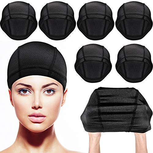 Tatuo 8 Pack Dome Caps Stretchable Wigs Cap Spandex Dome Style Wig Caps For Men Women (Black Nylon Wig Caps)]()