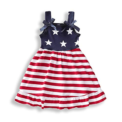 YOUNGER TREE Toddler Baby Girls Summer Outfit Stars and Stripes Bow-Knot Dress Independent's Day Suits (Stripe, 3-4T)