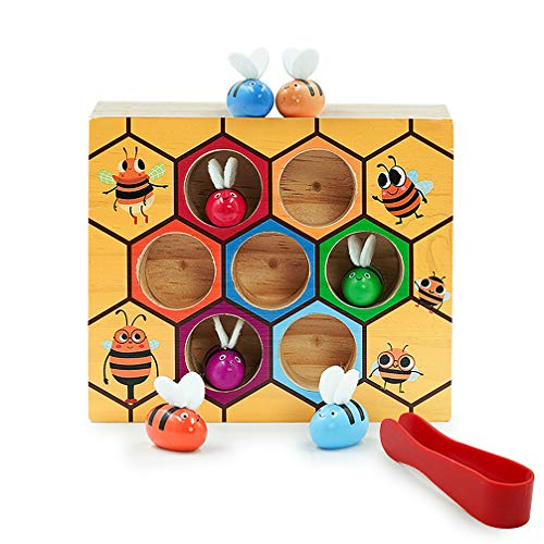 DreamsEden Picking Bee Hive Toys - Wooden Early Educational Development Game Sorting Counting Motor Skills Preschool Learning Toys for 18 Months and up Kids Toddlers Baby -