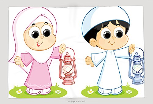 Supersoft Fleece Throw Blanket A Muslim Boy And Girl Carrying Ramadan Lanterns 585771053 by vanfan
