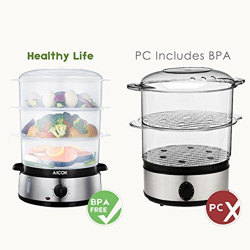 Food Steamer 9.5 Quart Vegetable Steamer, 800W Fast Heating Electric Steamer including 3 Tier Stackable Baskets with Rice bowl, Stainless Steel by AICOK (Image #1)