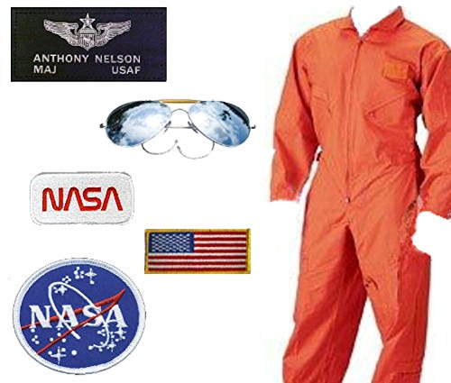 USAF-NASA Astronaut Costume - Major Nelson (Large, Orange) (Orange Nasa Flight Suit)