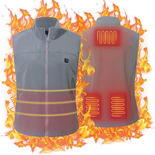 Keymao Heated Vest Electric Vest USB Charging Heated Vest Washable Heating Vest Intelligent Clothes Warm Winter for Men(Battery Not Included (Free Size - Grey- 5-Gear Temp, One Size)