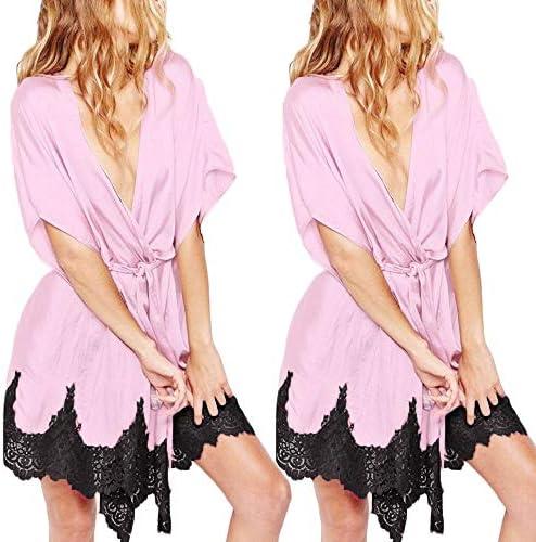 Qingsiy Seda Kimono Batas Mujer, Ropa de Dormir Splice de Encaje Sexy para Mujer de satén Traje de Pijama de lencería Dama Bata de baño Vestidos de Noche camisón(Rosa,XXXL): Amazon.es: Ropa y