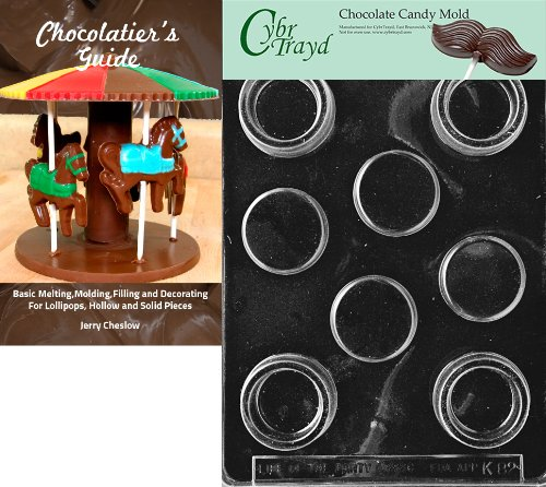(Cybrtrayd Small Round Pour Box Kids Chocolate Candy Mold with Chocolatier's Guide Instructions Book Manual)