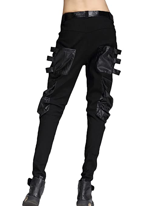Leather Pocket Punk Pants Black